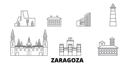 Espagne, Saragosse line travel skyline set. Espagne, Saragosse contour vectoriel de la ville panorama, illustration, sites touristiques, monuments, rues.