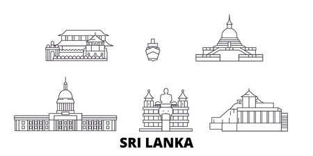 Sri Lanka line travel skyline set. Sri Lanka outline city vector panorama, illustration, travel sights, landmarks, streets. Illustration