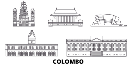 Sri Lanka, Colombo line travel skyline set. Sri Lanka, Colombo outline city vector panorama, illustration, travel sights, landmarks, streets.  イラスト・ベクター素材