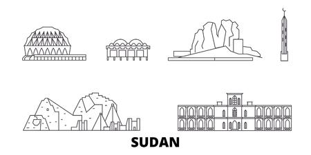 Sudan line travel skyline set. Sudan outline city vector panorama, illustration, travel sights, landmarks, streets.