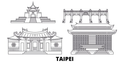 Taiwan, Taipei line travel skyline set. Taiwan, Taipei outline city vector panorama, illustration, travel sights, landmarks, streets. Illusztráció