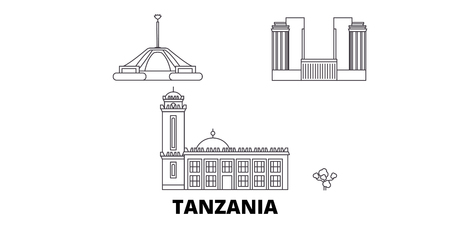Tanzania line travel skyline set. Tanzania outline city vector panorama, illustration, travel sights, landmarks, streets.