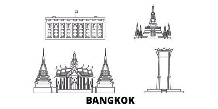 Thailand, Bangkok line travel skyline set. Thailand, Bangkok outline city vector panorama, illustration, travel sights, landmarks, streets.