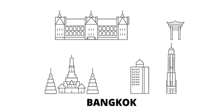 Thailand, Bangkok City line travel skyline set. Thailand, Bangkok City outline city vector panorama, illustration, travel sights, landmarks, streets. Ilustração