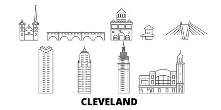 United States, Cleveland line travel skyline set. United States, Cleveland outline city vector panorama, illustration, travel sights, landmarks, streets.