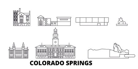 United States, Colorado Springs line travel skyline set. United States, Colorado Springs outline city vector panorama, illustration, travel sights, landmarks, streets. Illustration