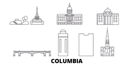 United States, Columbia line travel skyline set. United States, Columbia outline city vector panorama, illustration, travel sights, landmarks, streets.