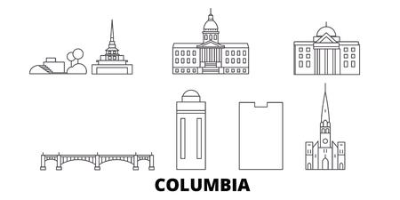 United States, Columbia line travel skyline set. United States, Columbia outline city vector panorama, illustration, travel sights, landmarks, streets.