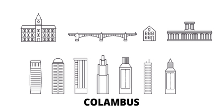 United States, Columbus line travel skyline set. United States, Columbus outline city vector panorama, illustration, travel sights, landmarks, streets.