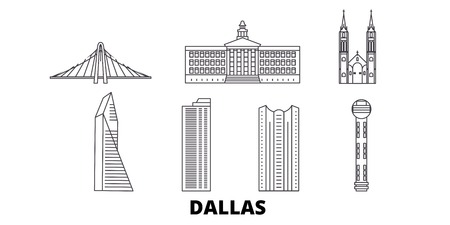 United States, Dallas line travel skyline set. United States, Dallas outline city vector panorama, illustration, travel sights, landmarks, streets. Çizim