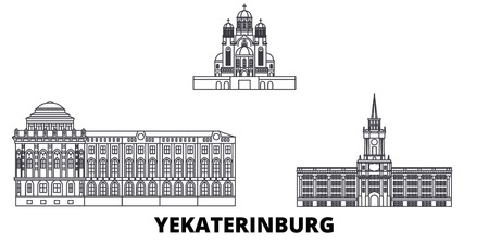 Russia, Yekaterinburg City line travel skyline set. Russia, Yekaterinburg City outline city vector panorama, illustration, travel sights, landmarks, streets.