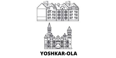 Russia, Yoshkar Ola line travel skyline set. Russia, Yoshkar Ola outline city vector panorama, illustration, travel sights, landmarks, streets.