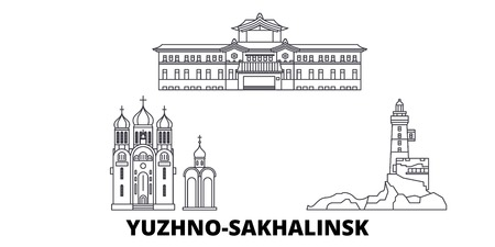 Russia, Yuzhno Sakhalinsk line travel skyline set. Russia, Yuzhno Sakhalinsk outline city vector panorama, illustration, travel sights, landmarks, streets.