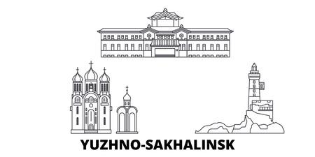 Russia, Yuzhno Sakhalinsk line travel skyline set. Russia, Yuzhno Sakhalinsk outline city vector panorama, illustration, travel sights, landmarks, streets.