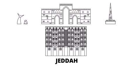 Saudi Arabia, Jeddah line travel skyline set. Saudi Arabia, Jeddah outline city vector panorama, illustration, travel sights, landmarks, streets.