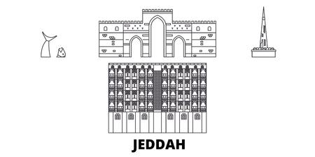 Saudi-Arabien, Jeddah Line Travel Skyline Set. Saudi-Arabien, Jeddah skizzieren Stadtvektorpanorama, Illustration, Reisesehenswürdigkeiten, Sehenswürdigkeiten, Straßen. Vektorgrafik