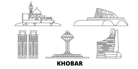 Saudi-Arabien, Khobar-Linie Reise-Skyline-Set. Saudi-Arabien, Khobar skizzieren Stadtvektorpanorama, Illustration, Reisesehenswürdigkeiten, Sehenswürdigkeiten, Straßen.