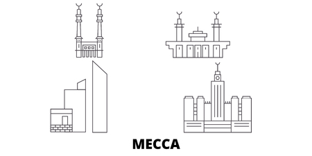 Saudi Arabia, Mecca line travel skyline set. Saudi Arabia, Mecca outline city vector panorama, illustration, travel sights, landmarks, streets.