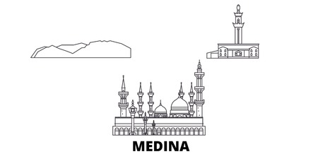 Saudi Arabia, Medina line travel skyline set. Saudi Arabia, Medina outline city vector panorama, illustration, travel sights, landmarks, streets.