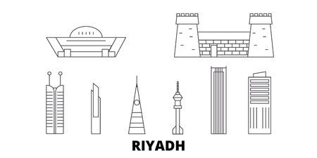 Arabie saoudite, ensemble d'horizon de voyage en ligne de Riyad. L'Arabie saoudite, Riyad décrit le panorama vectoriel de la ville, l'illustration, les sites touristiques, les monuments, les rues.