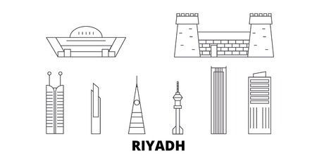 Saudi Arabia, Riyadh line travel skyline set. Saudi Arabia, Riyadh outline city vector panorama, illustration, travel sights, landmarks, streets.