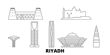 Arabia Saudita, Riad, la línea del horizonte de viaje. Arabia Saudita, Riyadh esquema panorama vectorial de la ciudad, ilustración, lugares turísticos, monumentos, calles. Ilustración de vector
