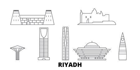Arabie saoudite, ensemble d'horizon de voyage en ligne de Riyad. L'Arabie saoudite, Riyad décrit le panorama vectoriel de la ville, l'illustration, les sites touristiques, les monuments, les rues. Vecteurs