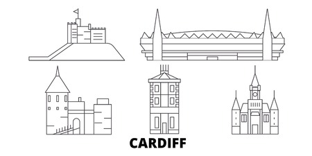 United Kingdom, Cardiff line travel skyline set. United Kingdom, Cardiff outline city vector panorama, illustration, travel sights, landmarks, streets.
