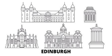 Reino Unido, Edimburgo, la línea del horizonte de viaje. Reino Unido, Edimburgo esquema panorama vectorial de la ciudad, ilustración, lugares turísticos, monumentos, calles. Ilustración de vector