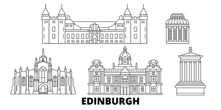 United Kingdom, Edinburgh line travel skyline set. United Kingdom, Edinburgh outline city vector panorama, illustration, travel sights, landmarks, streets. Banque d'images - 120655761
