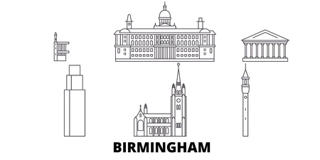 United Kingdom, Birmingham line travel skyline set. United Kingdom, Birmingham outline city vector panorama, illustration, travel sights, landmarks, streets. Illustration