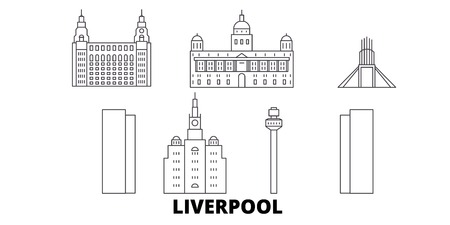 United Kingdom, Liverpool line travel skyline set. United Kingdom, Liverpool outline city vector panorama, illustration, travel sights, landmarks, streets.