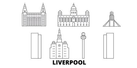 United Kingdom, Liverpool line travel skyline set. United Kingdom, Liverpool outline city vector panorama, illustration, travel sights, landmarks, streets.