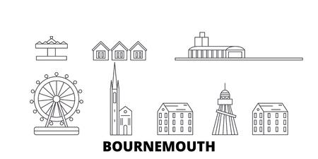 United Kingdom, Bournemouth line travel skyline set. United Kingdom, Bournemouth outline city vector panorama, illustration, travel sights, landmarks, streets. Ilustração