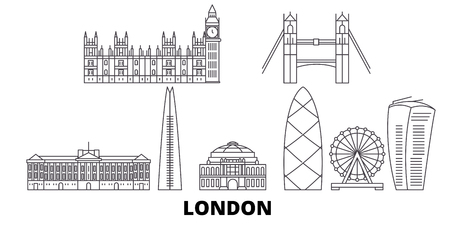 United Kingdom, London line travel skyline set. United Kingdom, London outline city vector panorama, illustration, travel sights, landmarks, streets.
