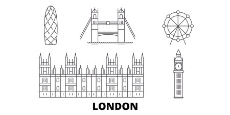 United Kingdom, London City line travel skyline set. United Kingdom, London City outline city vector panorama, illustration, travel sights, landmarks, streets.