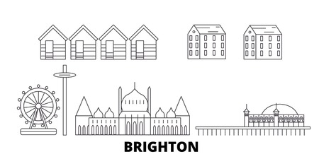 United Kingdom, Brighton line travel skyline set. United Kingdom, Brighton outline city vector panorama, illustration, travel sights, landmarks, streets. Illustration