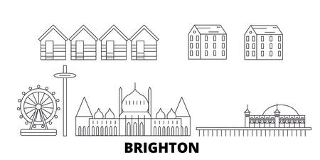 United Kingdom, Brighton line travel skyline set. United Kingdom, Brighton outline city vector panorama, illustration, travel sights, landmarks, streets. Ilustração