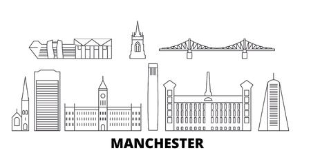 United Kingdom, Manchester line travel skyline set. United Kingdom, Manchester outline city vector panorama, illustration, travel sights, landmarks, streets.
