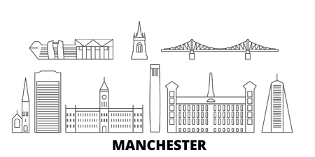 United Kingdom, Manchester line travel skyline set. United Kingdom, Manchester outline city vector panorama, illustration, travel sights, landmarks, streets. Foto de archivo - 123897161