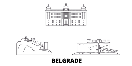 Serbia, Belgrade line travel skyline set. Serbia, Belgrade outline city vector panorama, illustration, travel sights, landmarks, streets. Çizim
