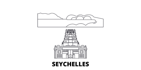 Seychelles line travel skyline set. Seychelles outline city vector panorama, illustration, travel sights, landmarks, streets. Иллюстрация