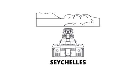 Seychelles line travel skyline set. Seychelles outline city vector panorama, illustration, travel sights, landmarks, streets. Illustration