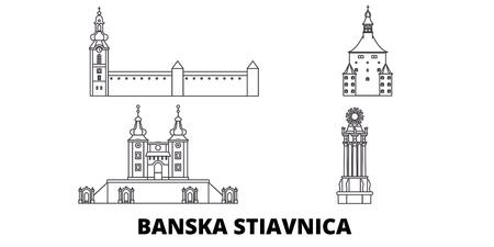 Słowacja, zestaw panoramę podróży linia Banska Stiavnica. Słowacja, Banska Stiavnica zarys panorama miasta wektor, ilustracja, zabytki podróży, zabytki, ulice.