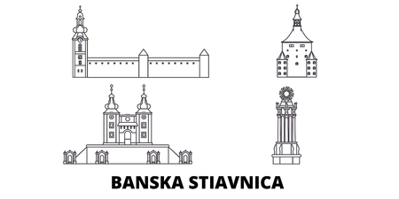 Slovakia, Banska Stiavnica line travel skyline set. Slovakia, Banska Stiavnica outline city vector panorama, illustration, travel sights, landmarks, streets.