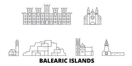 Spain, Balearis Islands line travel skyline set. Spain, Balearis Islands outline city vector panorama, illustration, travel sights, landmarks, streets.