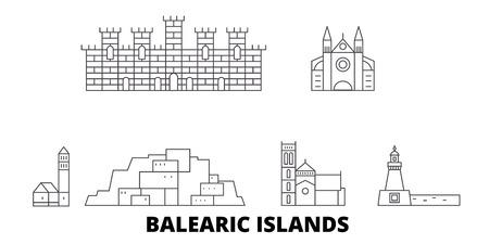 Spain, Balearis Islands line travel skyline set. Spain, Balearis Islands outline city vector panorama, illustration, travel sights, landmarks, streets.
