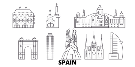 Spain, Barcelona line travel skyline set. Spain, Barcelona outline city vector panorama, illustration, travel sights, landmarks, streets.