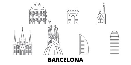 Spagna, Barcellona City line skyline di viaggio impostato. Spagna, Barcelona City outline vettore città panorama, illustrazione, siti di viaggi, punti di riferimento, strade.