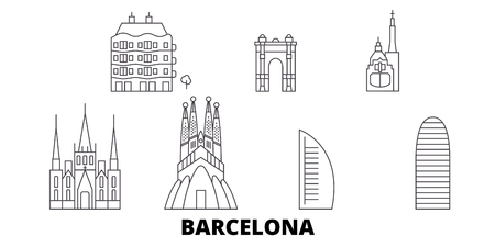 Spain, Barcelona City line travel skyline set. Spain, Barcelona City outline city vector panorama, illustration, travel sights, landmarks, streets. Illustration